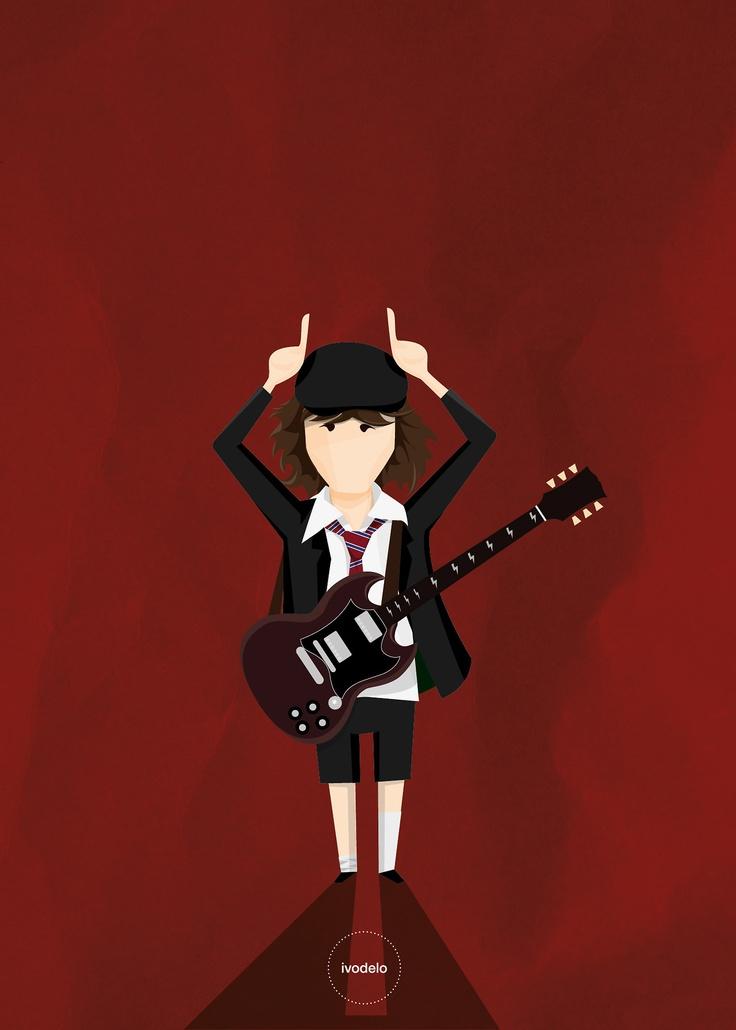 Angus  © ivodelo_ivan de lorenzo - 2013 www.facebook.com/i.like.ivodelo  #angus young, #acdc, #ac/dc, #guitar, #gibson sg, #illustration, #ivodelo