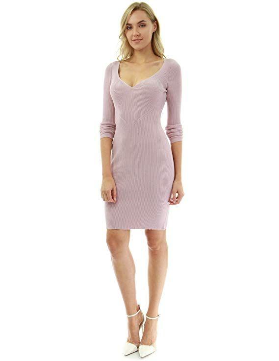 f5b2fc07f2 PattyBoutik Women Notch V Neck Ribbed Knit Dress (Pink Large)