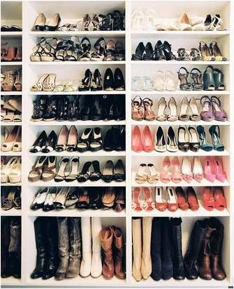 Bookcases as shoe racks would work great in a walk-in closet or along a bedroom or dressing room wall as a shoe closet; could use curtains to conceal and to protect shoes from dust.
