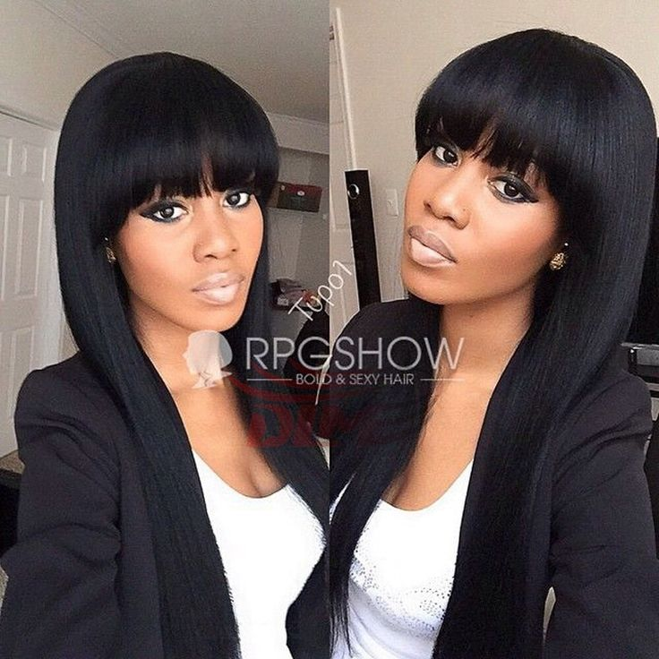 Unprocessed Virgin Brazilian Full Lace Wig Black Women Front Wigs Human Hair With Bangs African American