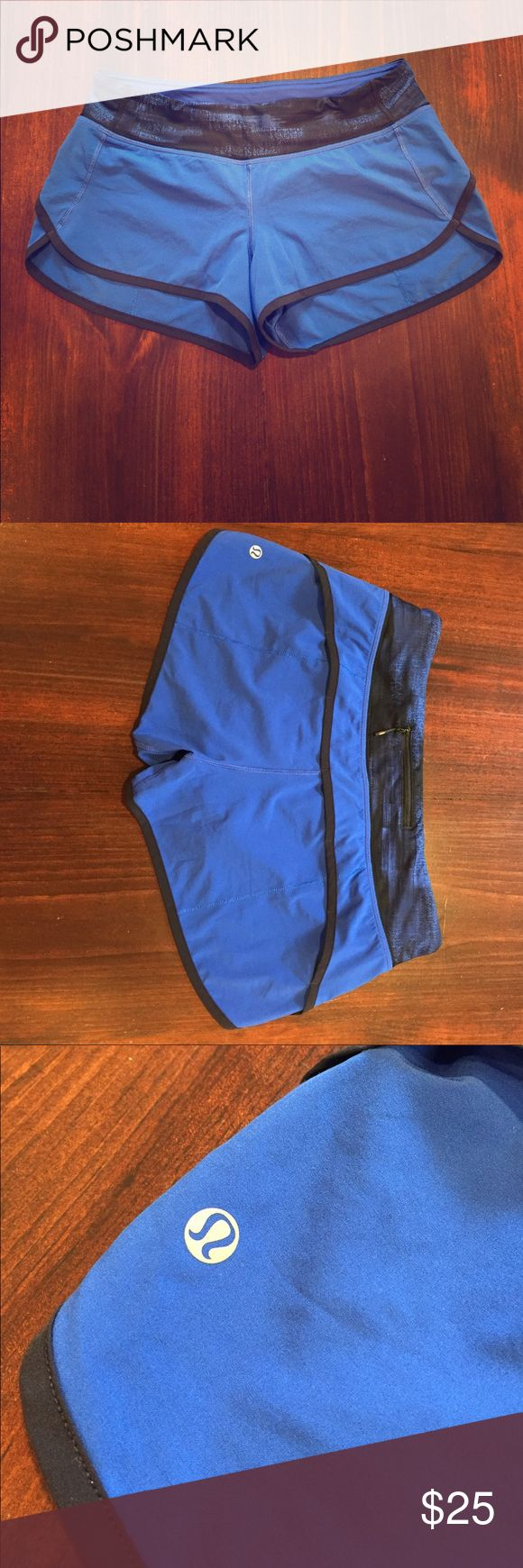 LuLuLemon runners Dark royal blue LuLuLemon runners - size 6.  Super lightweight and silky soft!  Two front hidden inside pockets and one rear zip pocket.  Panty type liner inside.  These are in excellent condition and will keep you cool as you run around town on those hot summer days!! Thanks for shopping! lululemon athletica Shorts