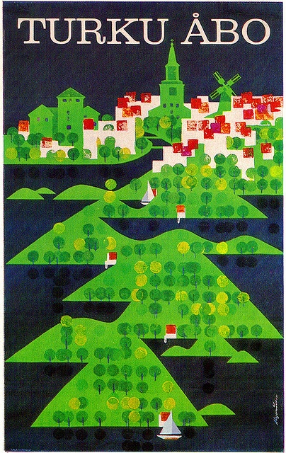 Martti A. Mykkänen illustration, tourism poster for the Finnish town of Turku, from Graphis Annual 66/67