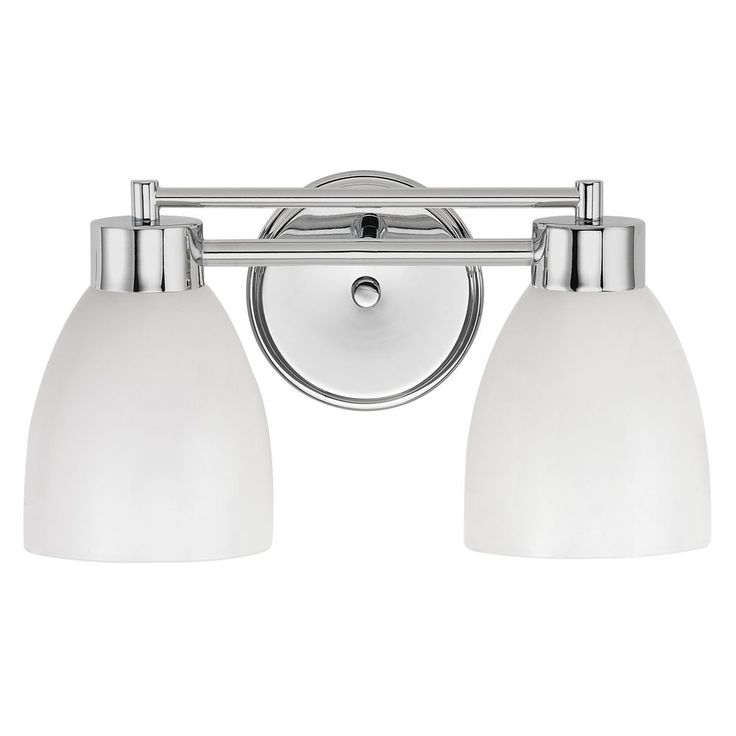Modern Bathroom Light with White Glass in Chrome Finish at Destination Lighting