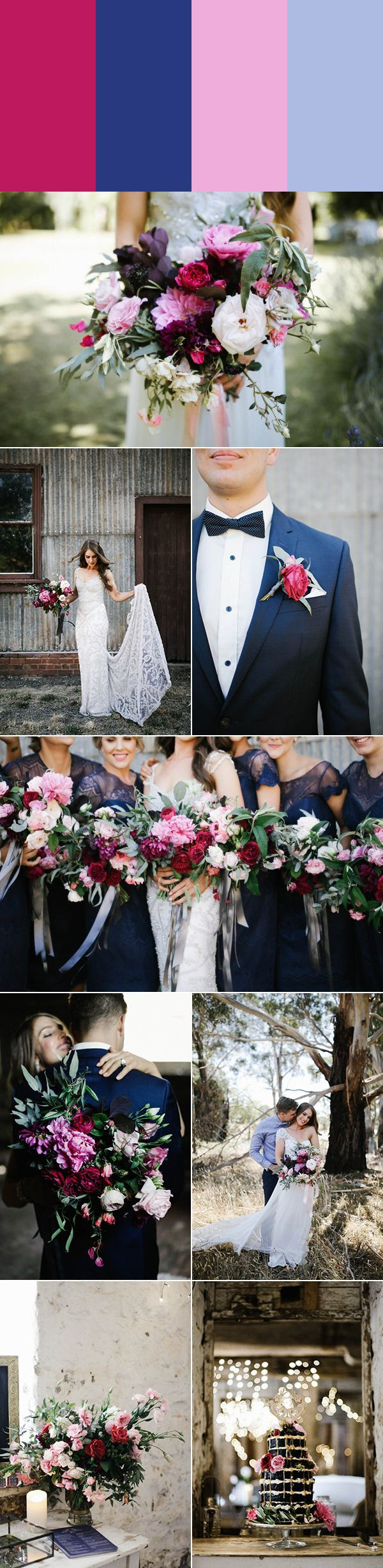 cranberry, navy, peony, and baby blue wedding style   photos by Brown Paper Parcel