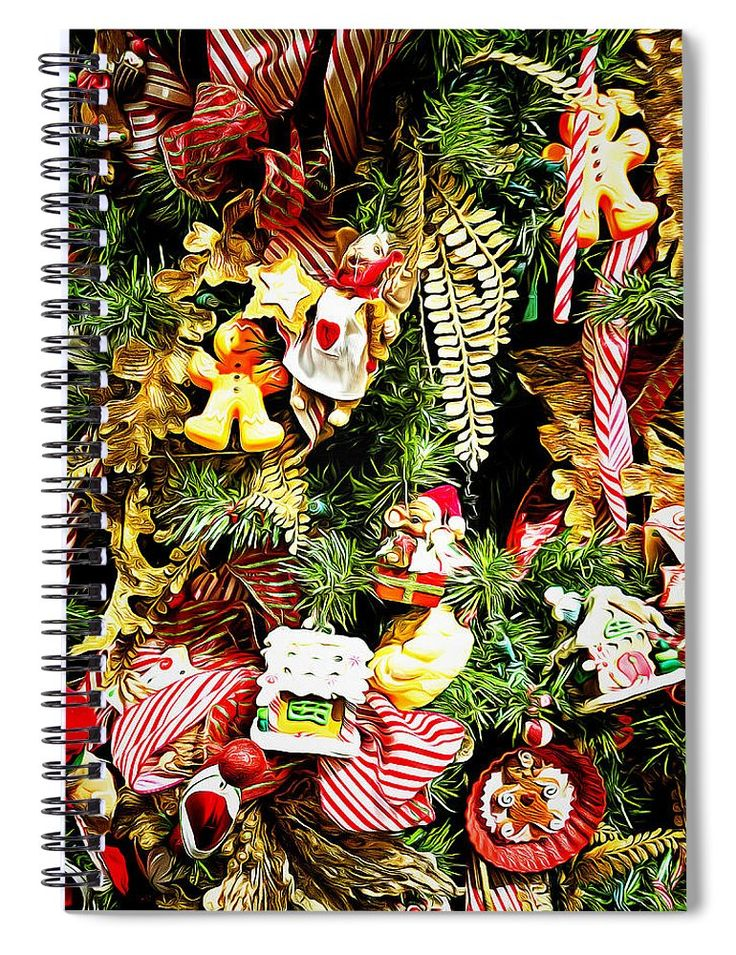"""This 6"""" x 8"""" spiral notebook features the artwork """"Christmas Traditions"""" by Leslie Montgomery on the cover and includes 120 lined pages for your notes and greatest thoughts."""