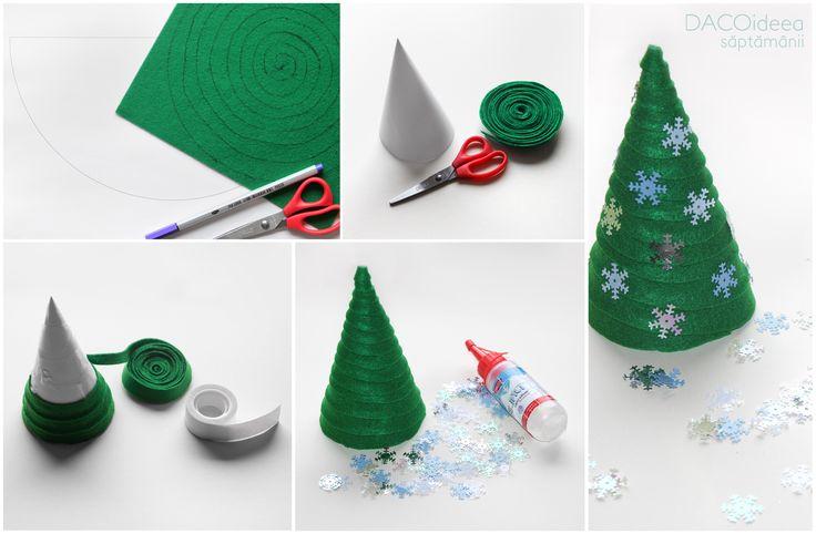 Un brăduț decorativ, pe care îl putem realiza acasă, împreună cu copiii. Am realizat proiectul din: o coală de hârtie/carton alb, o coală de fetru verde, Paiete Ninge, foarfecă grădiniță, bandă adezivă dublă, lipici silicon Silipici, pix liner, toate de la DACO. Produsele sunt disponibile în magazinele partenere și pe www.dacomag.ro/.