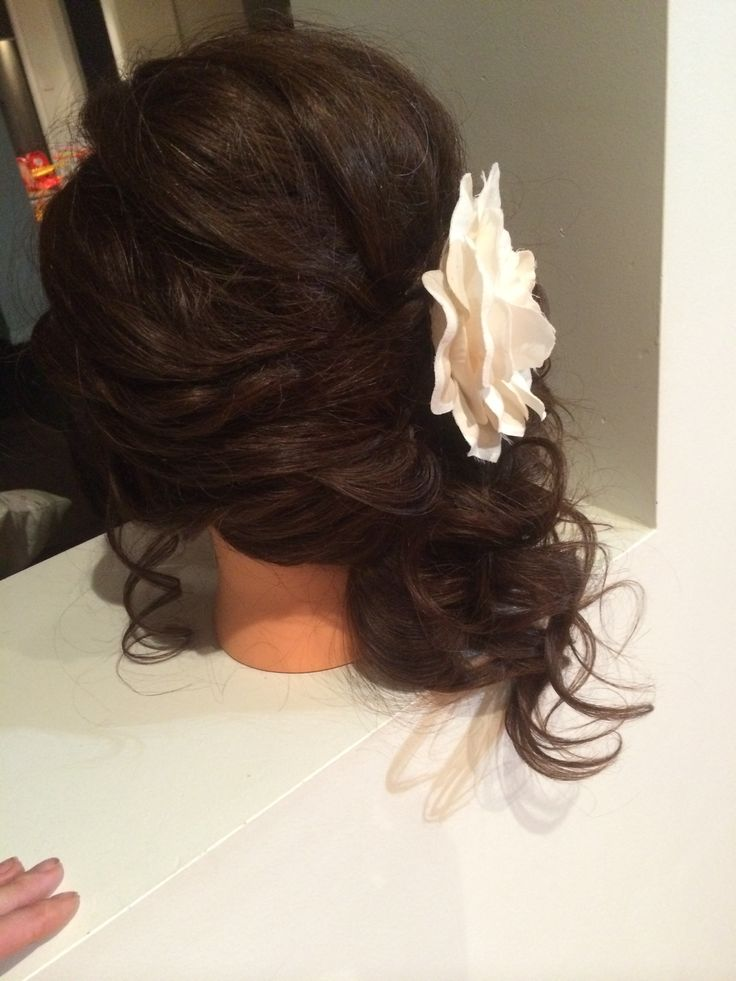 Up do curls all to one side,back