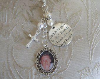 Ivory Swarovski Crucifix memorial photo bouquet charm £10.00 + p&p