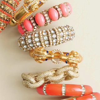 Coral & Gold, J crew bracelets.