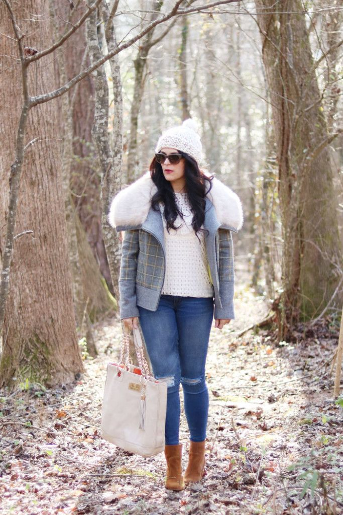 Plaid Fur Trim Coat and Eyelet Top - Darling Darleen | A Lifestyle Design Blog