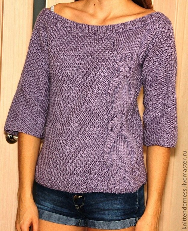 """Купить Джемпер """"Лиловый"""" - сиреневый, джемпер, пуловер, джемпер вязаный, джемпер женский, джемпер спицами"""