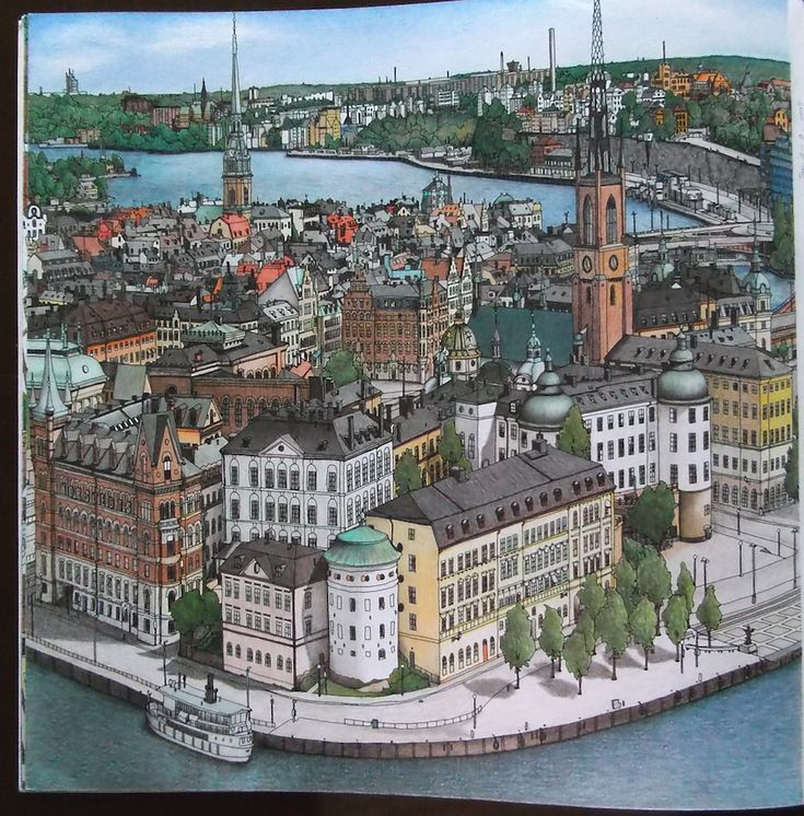 Fantastic Cities Pg6 Stockholm Sweden Stevemcdonald Fantasticcities SwedenAdult ColoringColoring Books