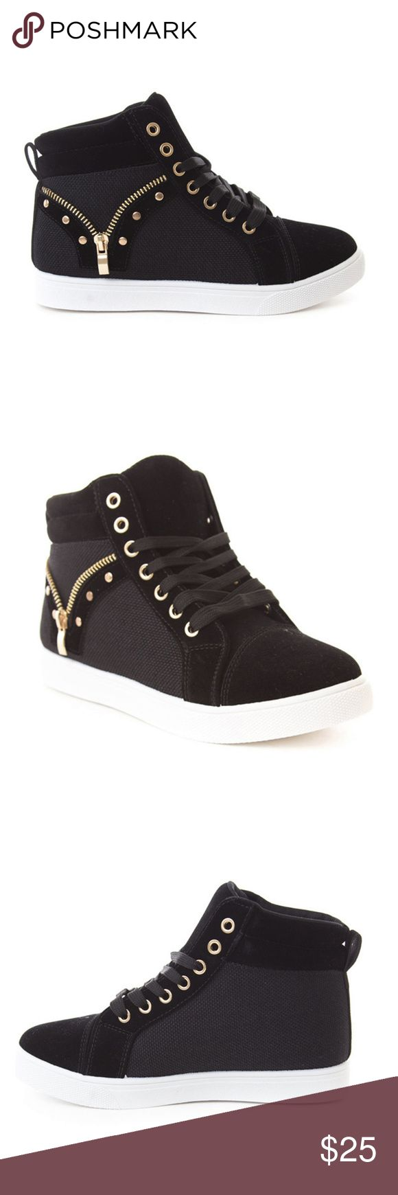 "Women's High Top Casual Sneaker with ""V"" Zipper You can be in style with these fashionable, hip-hop, basketball-inspired, faux suede and cloth sneakers.  You can have the style without the high price tag with the open ""V"" zipper and metal studs.  Heel height is approximately 1"". SOHO Shoes Shoes Athletic Shoes"