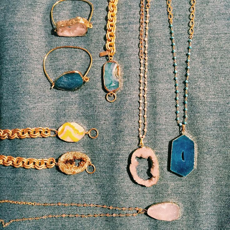 Couture Jems, with amethyst and quartz crystals // chain necklaces and cuffs