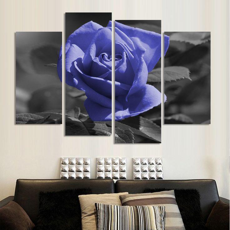 Pas cher livraison gratuite moderne fleur peinture huile de rose ensemble 4 pièce grande toile art