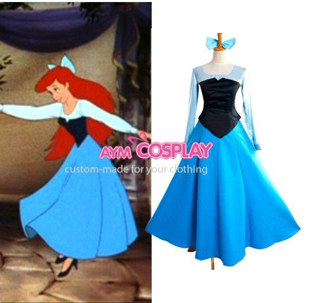 New Arrival Custom Made The Little Mermaid Princess Ariel Blue Dress Cosplay Costume For Halloween $155.00
