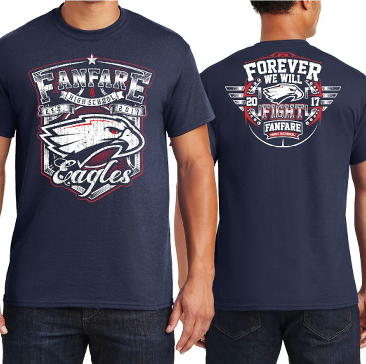 Design by -RoverA- | Athletic T-Shirt Design for Fanfare High School Eagles https://99designs.com/t-shirt-design/contests/athletic-t-shirt-design-fanfare-high-school-eagles-714161/entries/136
