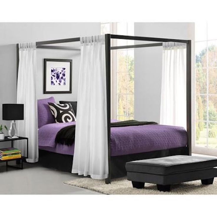 Metal Canopy Bed Frame Queen Size Platform Modern Bedroom Iron With  Headboard