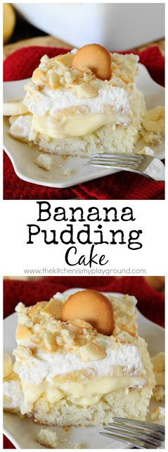 Banana Pudding Cake ~ The traditional flavors of banana pudding in creamy cake form. So good it'll have you going back for seconds ... and even thirds!  www.thekitchenismyplayground.com