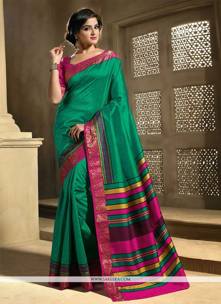 Amazing Green Raw Silk Casual Saree