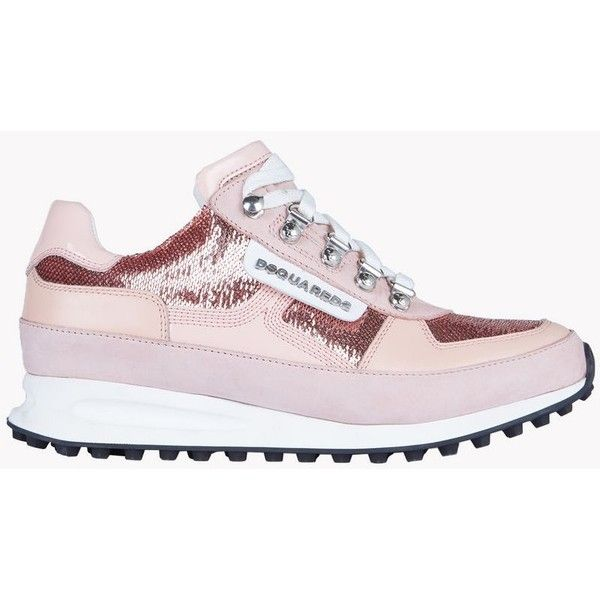 Dsquared2 Sneaker (480 CHF) ❤ liked on Polyvore featuring shoes, sneakers, pastel pink, pastel pink shoes, dsquared2 sneakers, pastel shoes, rubber sole shoes and sequin sneakers