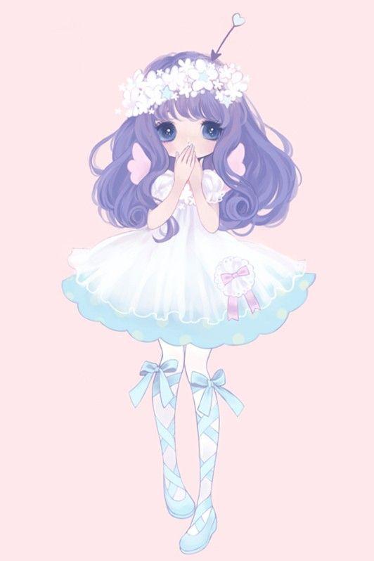 Kawaii • girl • lolita • art • drawing • illustration • anime • manga • purple hair • dress • cute • wallpaper • background