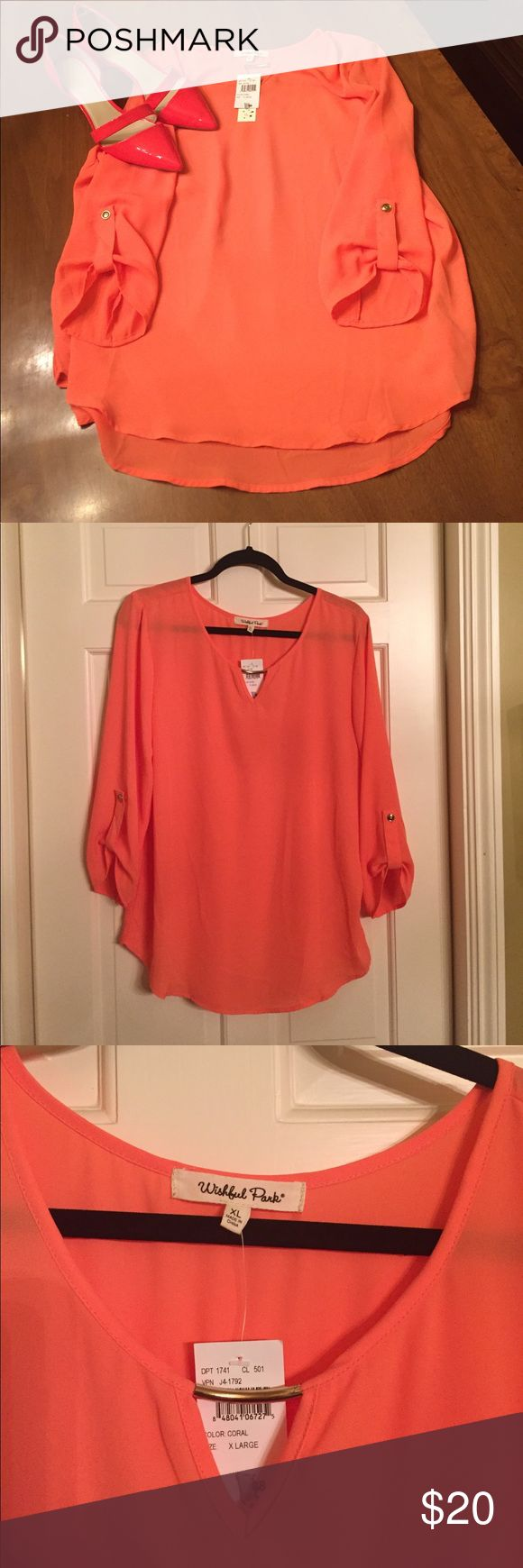 Coral Blouse with 3/4 sleeves Coral blouse that I bought on Poshmark that is a little too snug at hips. Tag says extra large but fits more like a large. Bought coral shoes to go with the shirt. Wishful Park Tops Blouses