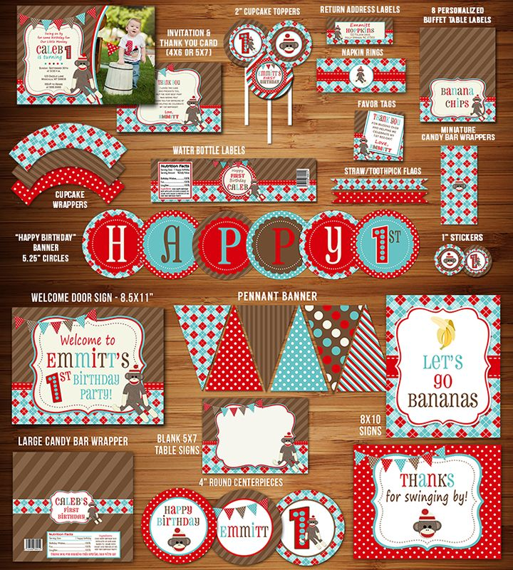 Printable Sock Monkey Birthday Party Package Decor | Invitation | Boy's 1st Birthday | Vintage Sock Monkey | Cupcake Toppers | Signs | Favor Tag | Food Labels | Banner | Candy Bar Wrapper | Water Bottle Labels and more!