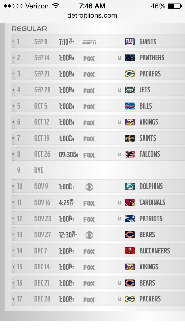 Detroit lions schedule