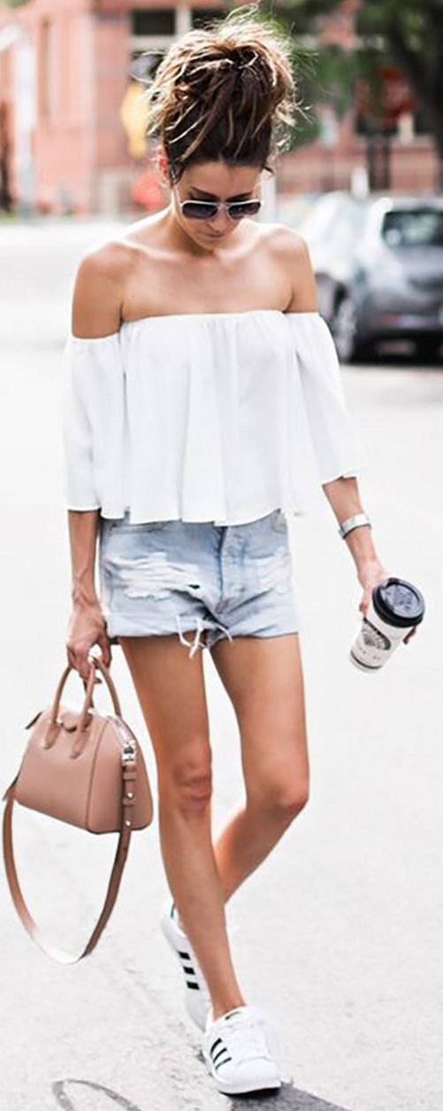#summer #popular #outfitideas White Off The Shoulder Top + Cutoffs + Sneakers