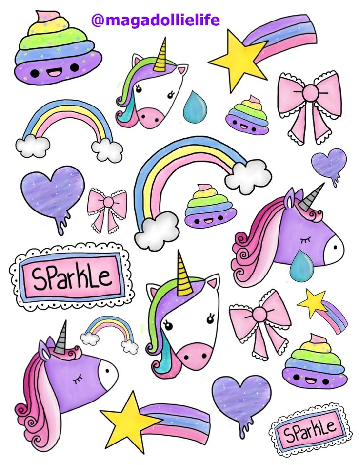 Magical Unicorn Sticker Art for 8.5 X 11 inch Sticker Paper  #Unicorn #Rainbow #Poop #magadollielife
