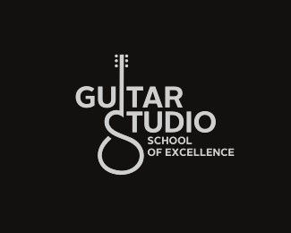Guitar Studio logo. Nice use of guitar form becoming the S.