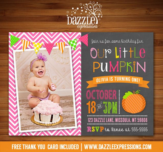 Printable Chalkboard Pumpkin Birthday Invitation | Girl 1st Birthday | October and Fall Birthday Party Ideas | FREE thank you card included | Hay Ride | Modern | DIY | Digital File | Matching Printable Party Package Decorations Available!  Banner | Cupcake Toppers | Favor Tag | Food and Drink Labels | Signs |  Candy Bar Wrapper | www.dazzleexpressions.com