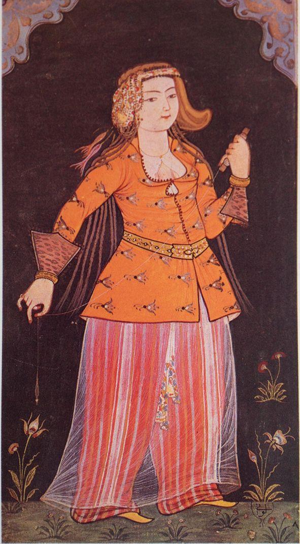 Minyatür-miniature. Palace maiden. Levni, 18th century.