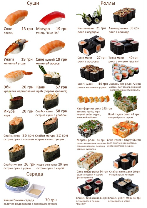 Sushi Menu in Russian