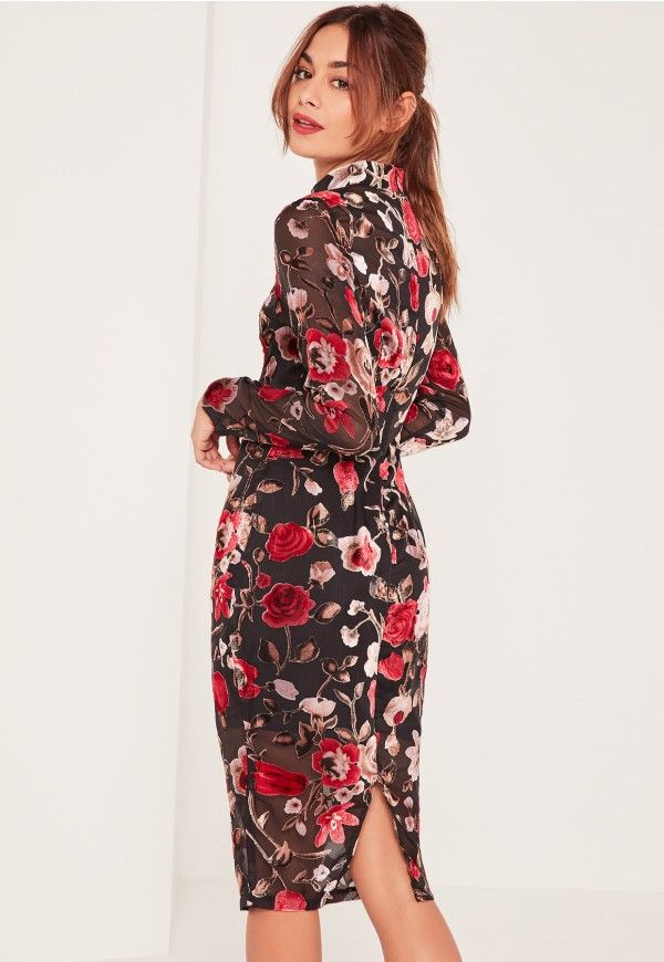 Introducing the AW16 collection in collaboration with French fashion blogger, Caroline Receveur.   Upgrade your weekend game in this dress. Perfect for AW15, this flocked velvet midi with a mesh overlay and floral print is a new season st...