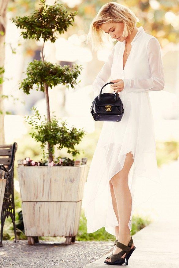 Lara Bingle in a white Theory dress.