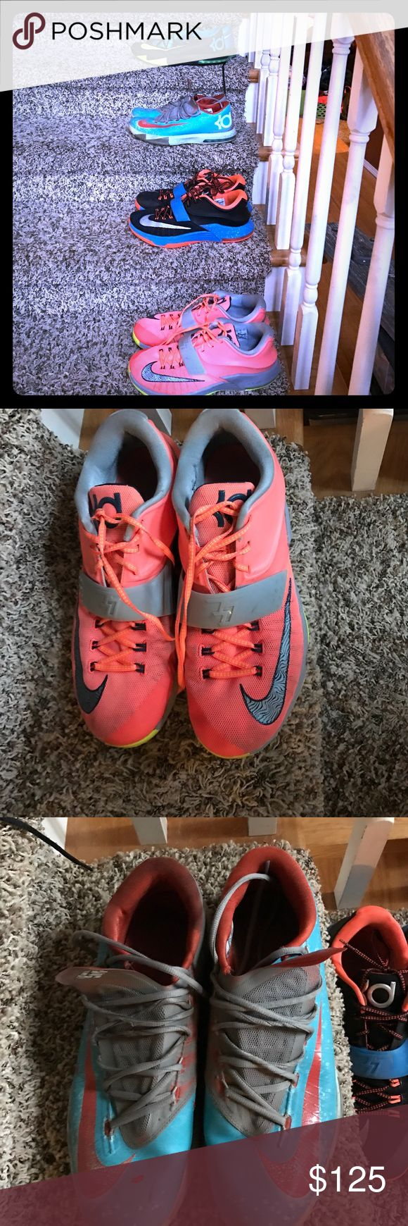 Nike KD basketball shoes Men's lot of 4 All used and size 13 except aqua blir and orange pair are 12.5. All show wear but have a lot of life left in them. Nike Shoes Sneakers