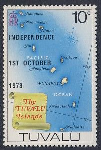 Map & Scroll the Tuvalu Islands . Independence 1st October 1978.-  English stamp E R, c.1978