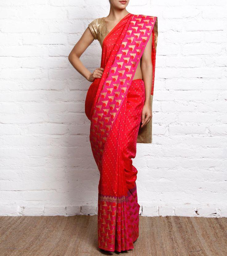 Fuchsia & Red Handwoven Banarasi Silk Saree