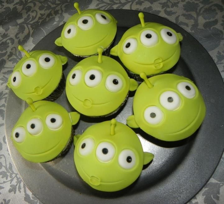LGM Cupcakes!!! Little Green Men from Toy Story & Buzz Light Year Www.CustomDesignCatering.com