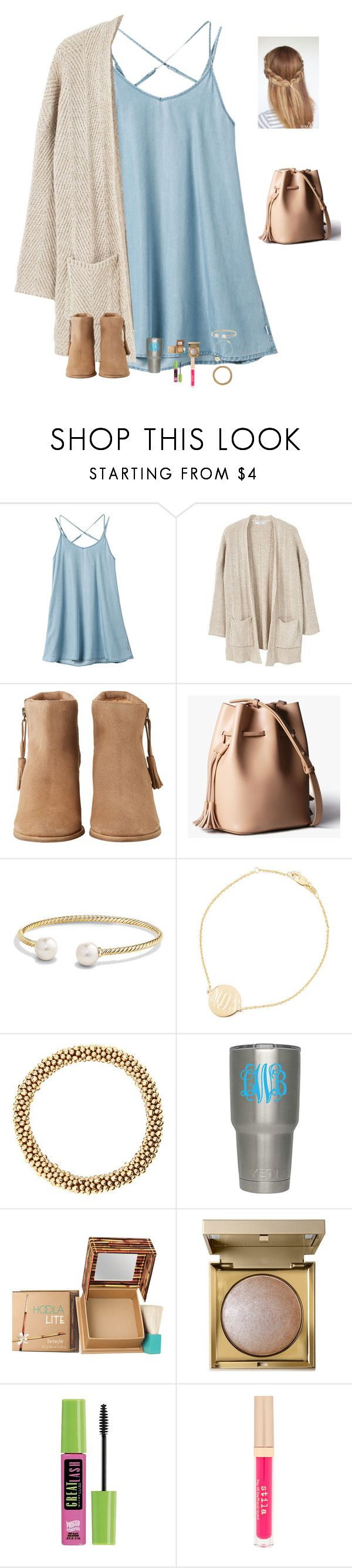 """I really love goldfish"" by raquate1232 ❤ liked on Polyvore featuring RVCA, MANGO, HOWSTY, David Yurman, Sarah Chloe, Benefit, Stila and Maybelline"