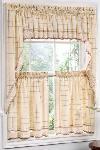 "Adirondack Homespun Ensemble 100% cotton Ecru/Toast Insert Valance by The_Curtain_Shop. $12.48. 100% cotton machine care. High Quality. Perfect in many different rooms. This heavyweight, homespun base cloth is embellished with a 3"" band of crochet trim."