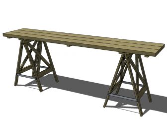 Free Furniture Plans To Build A Sawhorse Console Table | The Design  Confidential