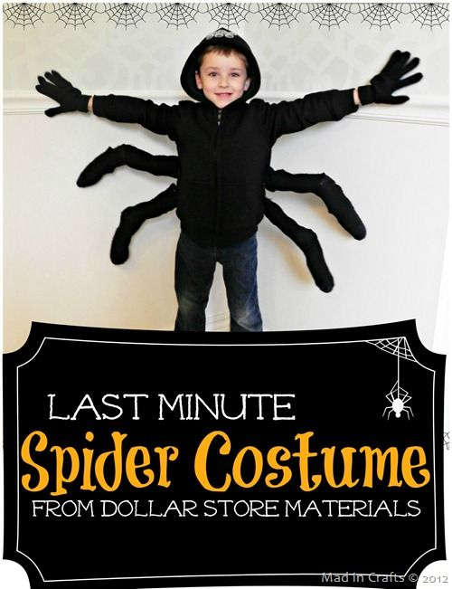 Last Minute Spider Costume - All you need is a black hoodie for this simple Halloween craft. From @Mad in Crafts