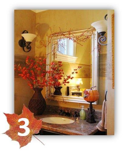 Beautiful Fall Bathroom Decor With Pumpkin Flowers And Fall Garland Above Mirror Beautiful Bathroom Inspiration Fall Decorating Ideas From Bathroom