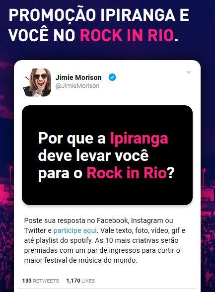 Garanta sua chance de ir ao Rock in Rio, clique na imagem para participar da promoção.