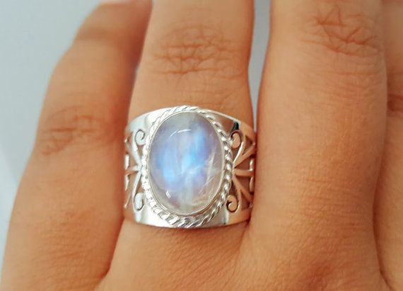 Genuine Moonstone Ring  Boho Ring  Gypsy Ring by HimalayanTreasure
