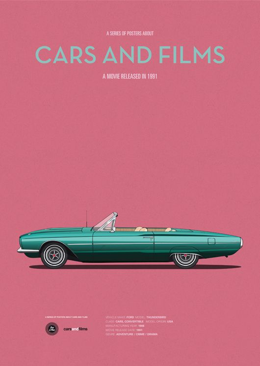 Thelma & Louise (1991) ~ Minimal Movie Poster by Jesus Prudencio ~ Cars and Films Series