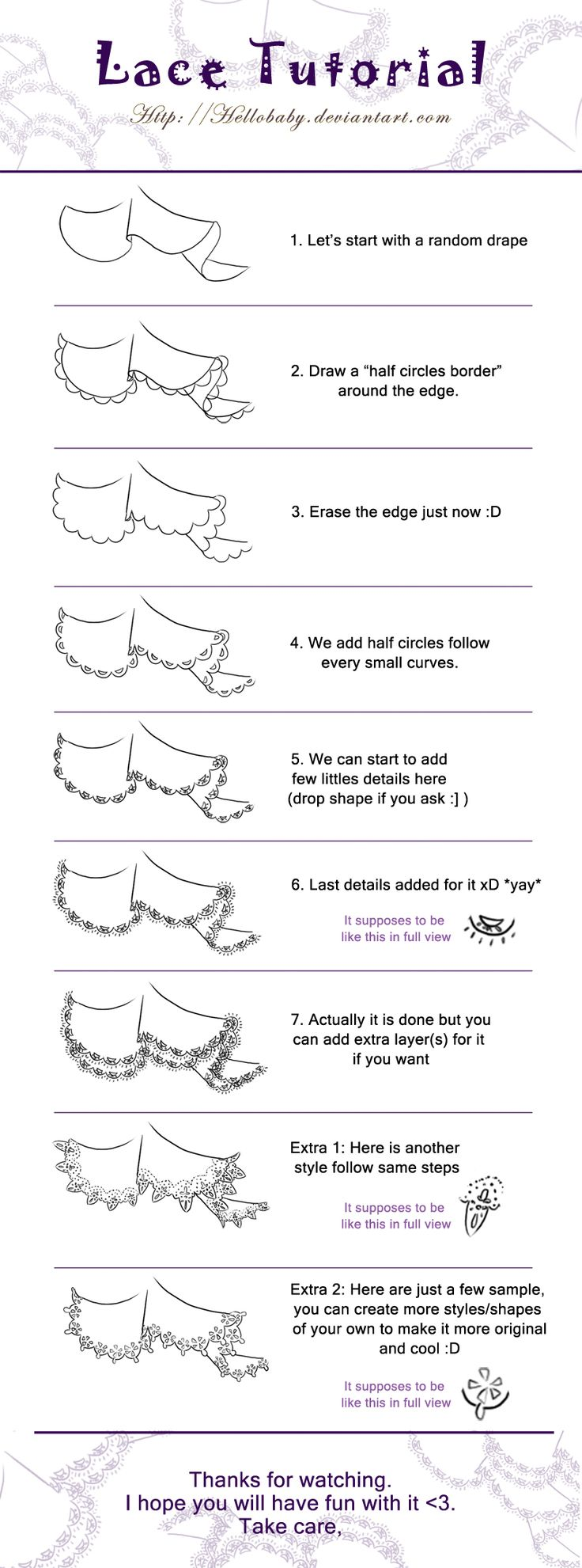 Tops fashion design sketches flat fashion sketch top 045 - Lace Tutorial By Hellobaby Lace Drawingmanga